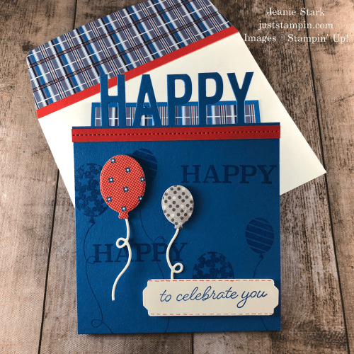 Stampin' Up! So Much Happy masculine birthday card idea with Well Suited Designer Series Paper - Jeanie Stark StampinUp