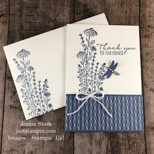 Stampin' Up! Dragonfly Garden quick & easy thank you note card idea - Jeanie Stark StampinUp