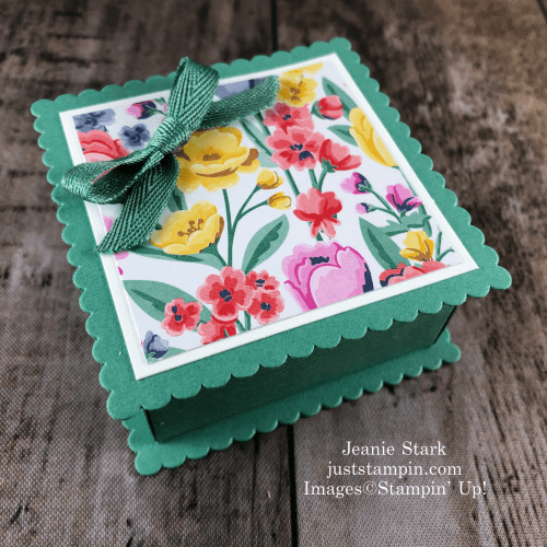 Stampin' Up! Flowers For Every Season Layering Squares Gift Box idea for Mother's Day - Jeanie Stark StampinUp