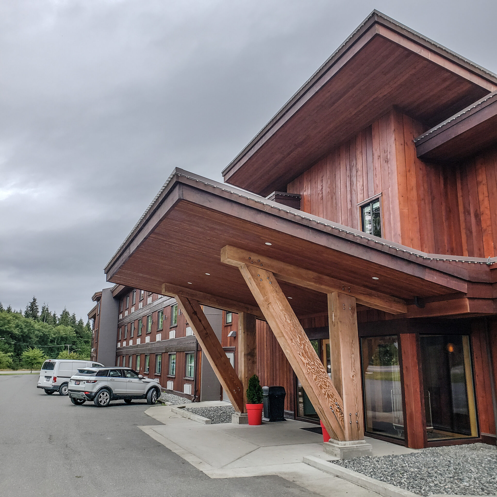Visit Port Hardy - Vancouver Island North - Explore Canada - Hello British Columbia - Kwa'lilas Hotel - Indigenous travel - indigenous tourism bc - exterior - front entrance
