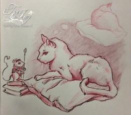 cat drawing embellished