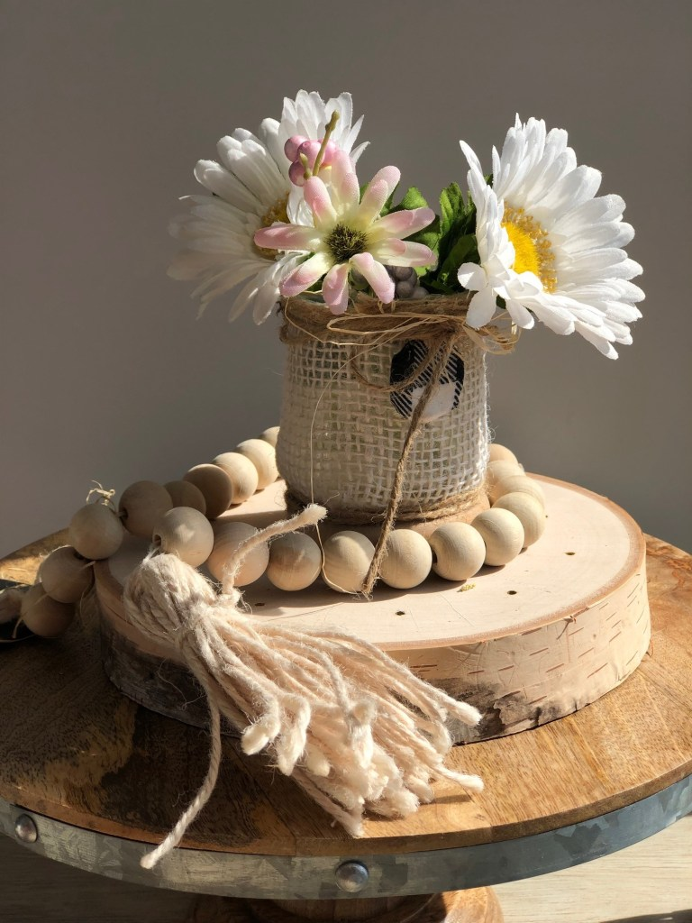 Burlap rustic look for oui yogurt jars with twine and clay charm