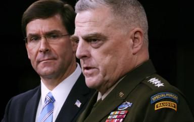 Defense Secretary Mark Esper (L), General Mark Milley, Chairman of the Joint Chiefs of Staff at the Pentagon, 2019