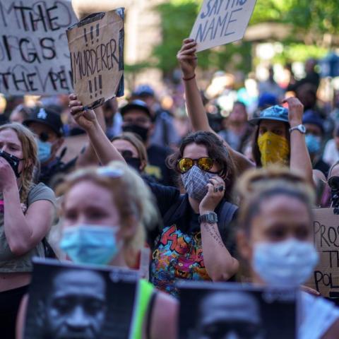 Protestors in Minneapolis, Minnesota
