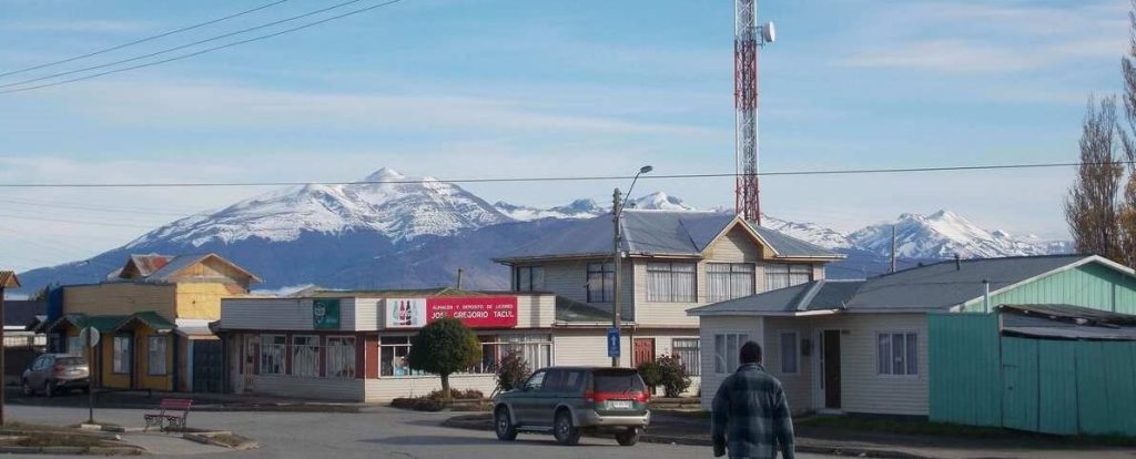 The view of the mountains over Puerto Natales