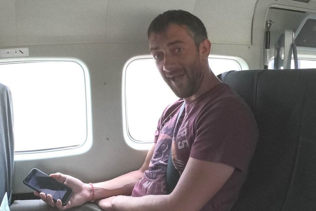 Looking happy on the small plane as we flew over the Okavango Delta