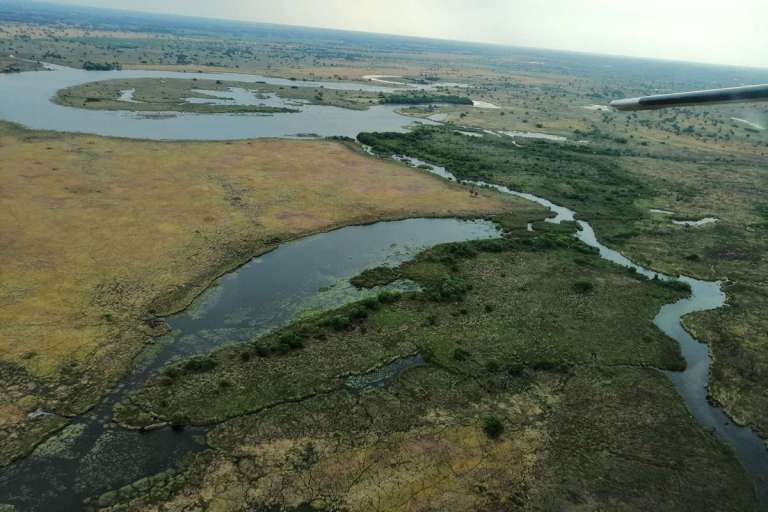 Aerial view over the Okavango Delta