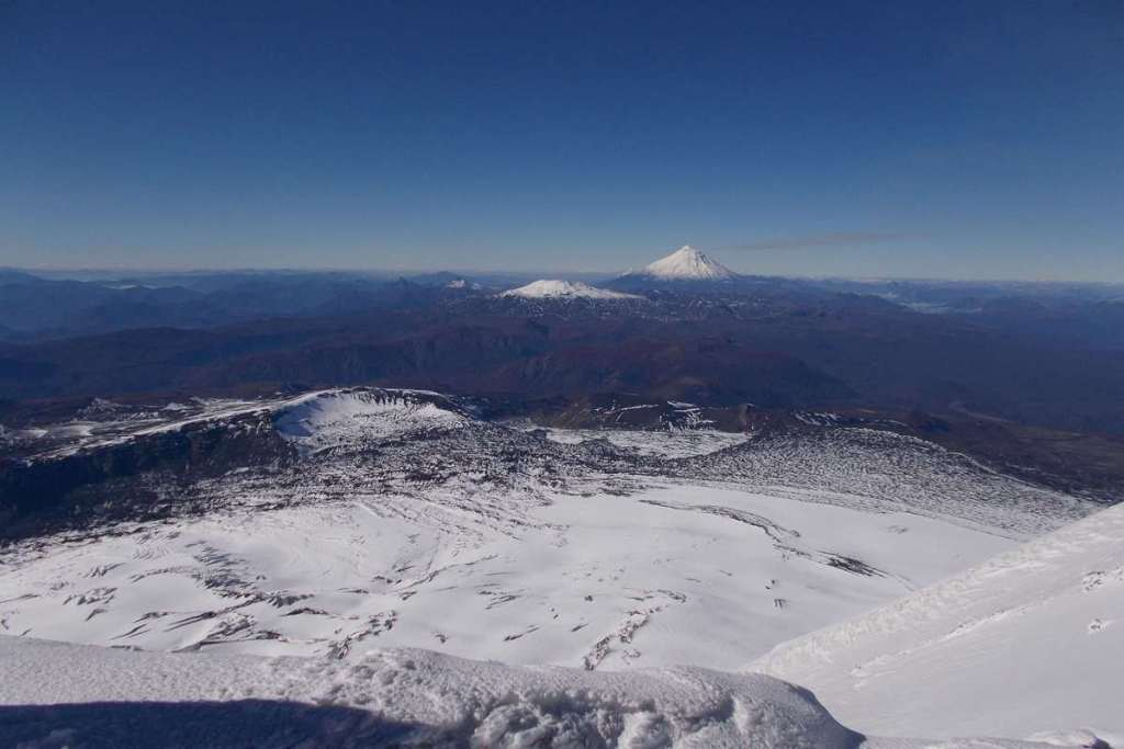 A distant volcano from the top of Mount Villarica