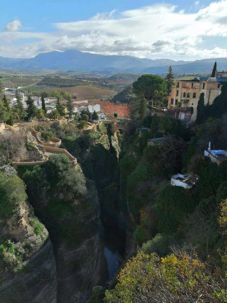 Los Jardines de Cuenca and gorge below as seen from Ronda's bridge