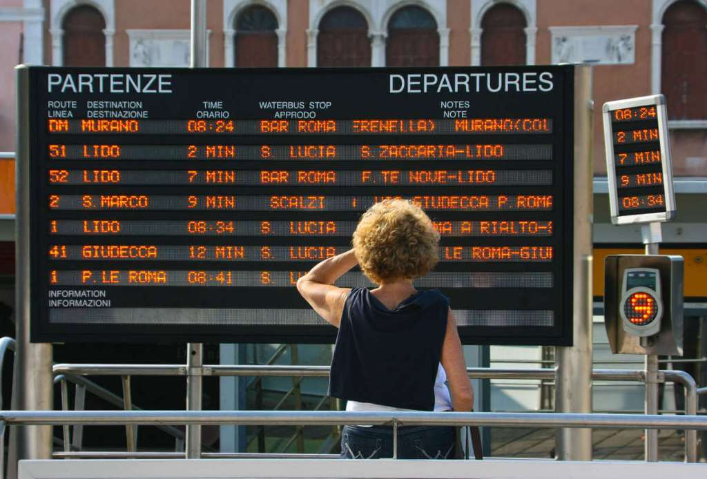 Train departures board in Italy