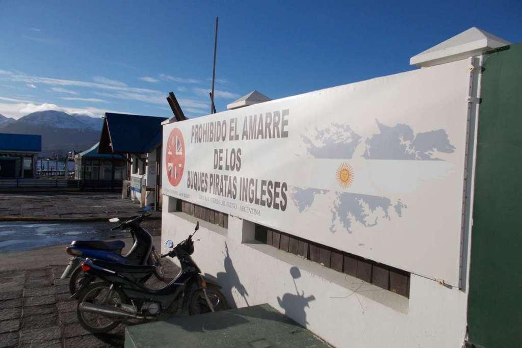 Sign at Ushuaia's port banning British ships