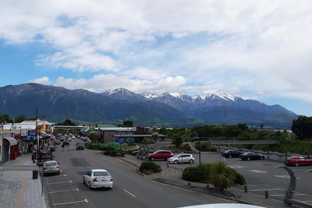 Kaikoura's main street and nearby mountains