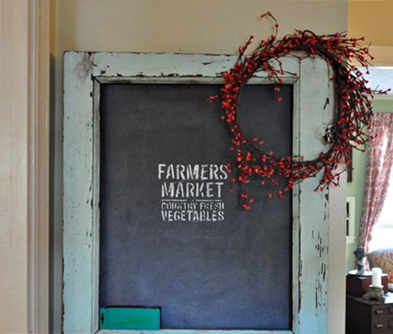 Fall garland wreath on chalkboard door