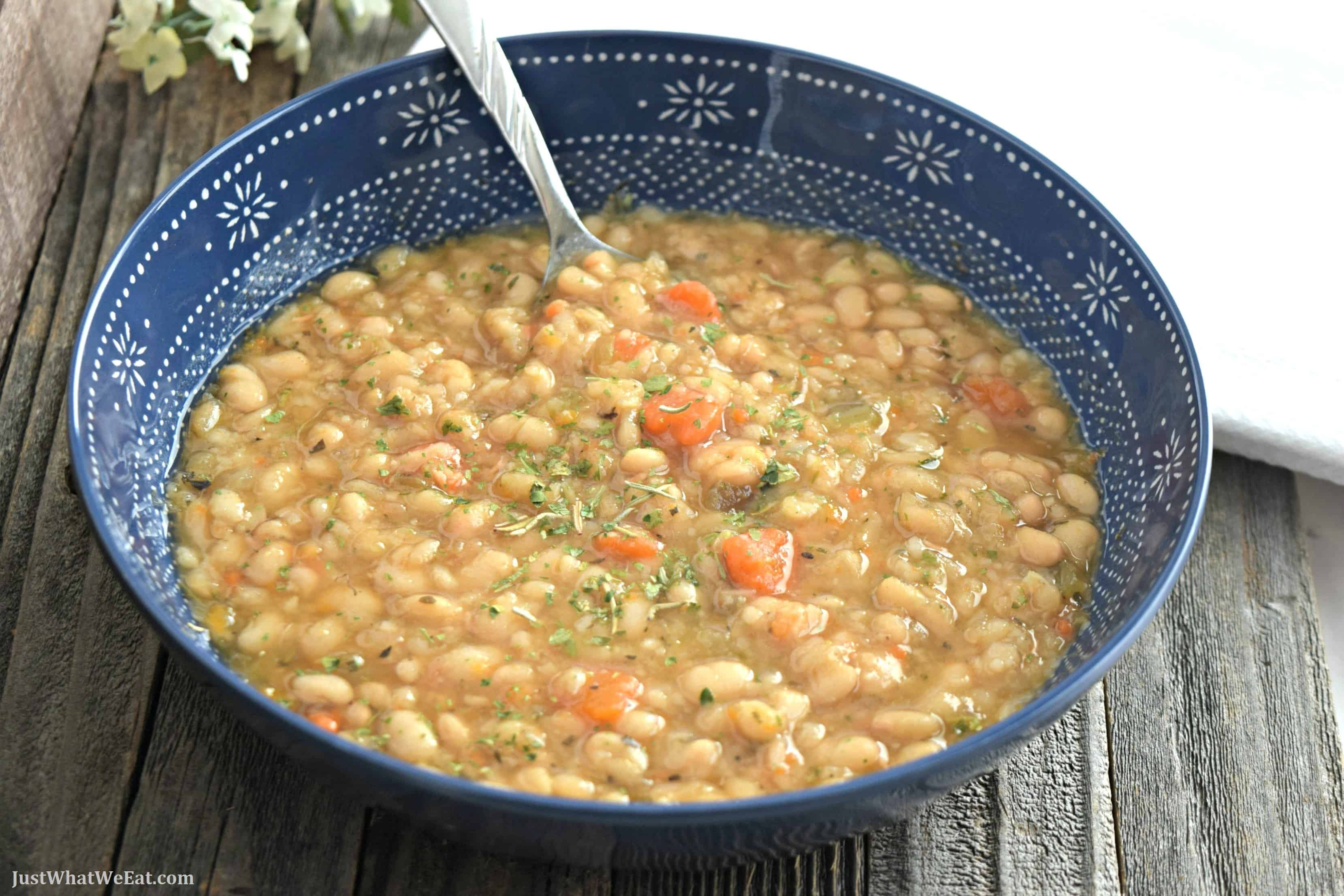 Slow Cooker White Bean Soup - Gluten Free & Vegan