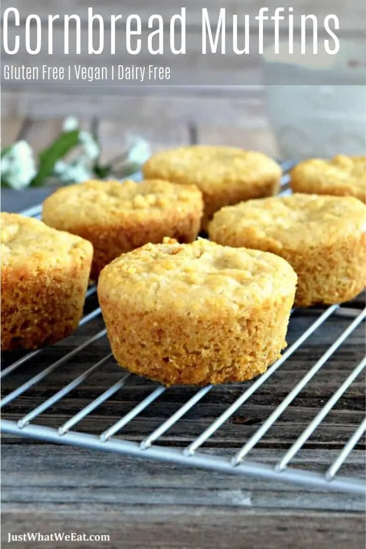 These gluten free vegan cornbread muffins have just a hint of sweetness and a wonderful texture.  The cornbread muffins go perfectly with some homemade chili and are the best comfort food side dish!