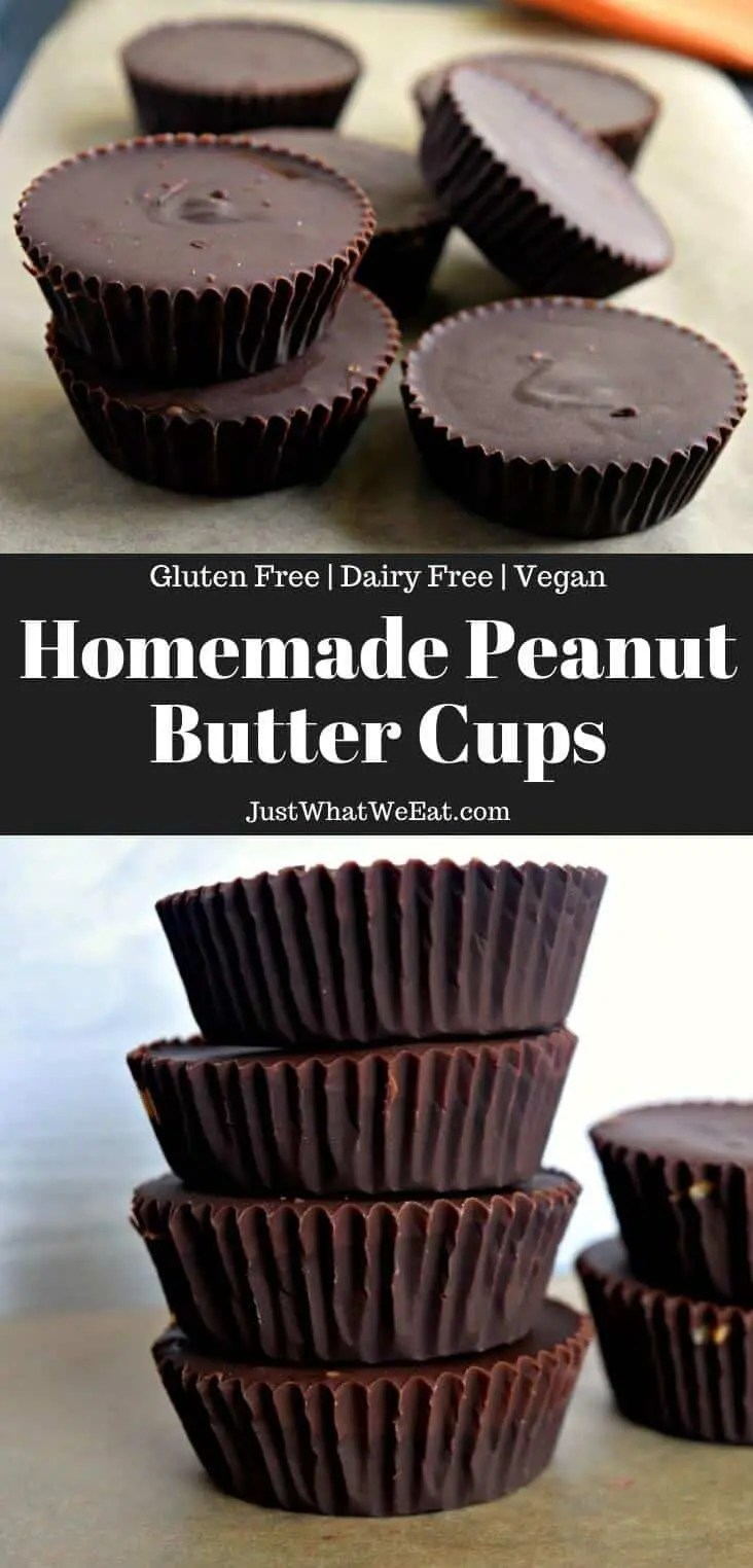 These gluten free and vegan Peanut Butter cups are so easy to make and taste wonderful! They taste so much like traditional peanut butter cups! #glutenfree #vegan #dairyfree #dessert #halloweencandy #peanutbutter