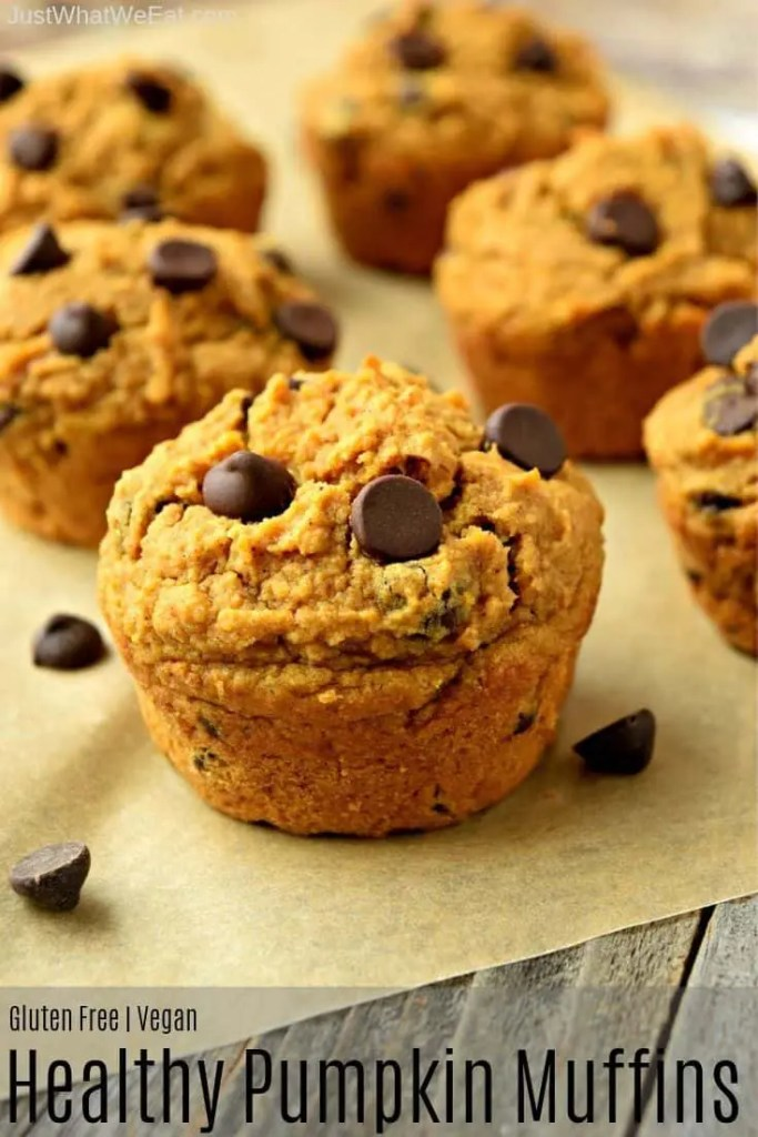 These Pumpkin Muffins are the perfect treat for Fall! They are gluten free, vegan, refined sugar free and taste amazing! The warm Fall spices with the pumpkin flavor are the best combination. #glutenfree #vegan #refinedsugarfree #fall #recipes #breakfast #muffins #healthy