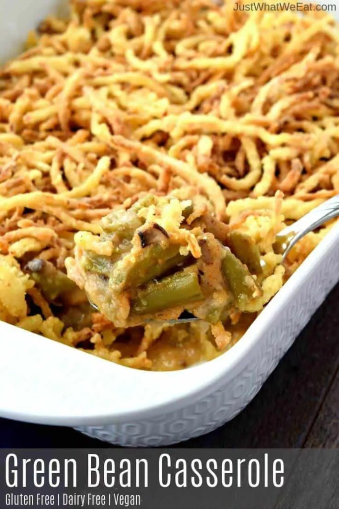 This Gluten Free & Vegan Green Bean Casserole tastes amazing! It's made with homemade mushroom gravy mixed with green beans and topped with homemade onion straws! #glutenfree #vegan #dairyfree #greenbeancasserole #thanksgiving #sides