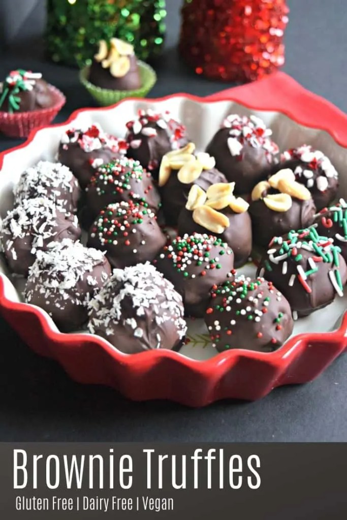 These gluten free, vegan, rich, and fudgy brownie truffles are one of my favorite Christmas time treats. There are just so many options and you can decorate them in so many different types of cute garnishes. #glutenfree #dairyfree #vegan #dessert #recipes #christmas
