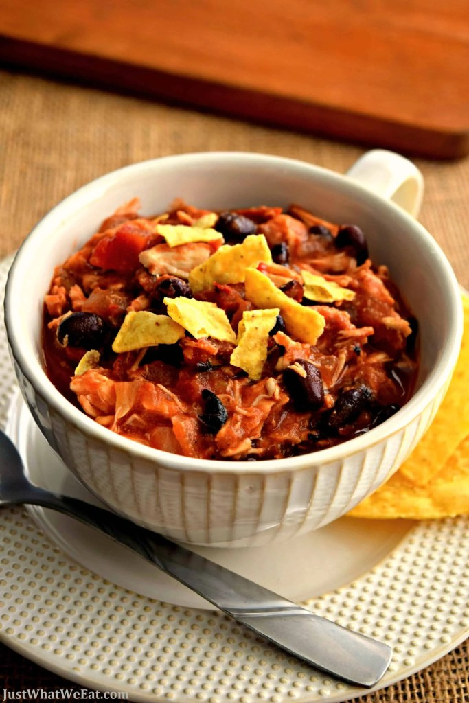 This gluten free and dairy free Chicken Taco Chili is so delicious and so easy to make! Just put all the ingredients in the slow cooker and let it cook. #glutenfree #dairyfree #slowcooker #chili #chicken