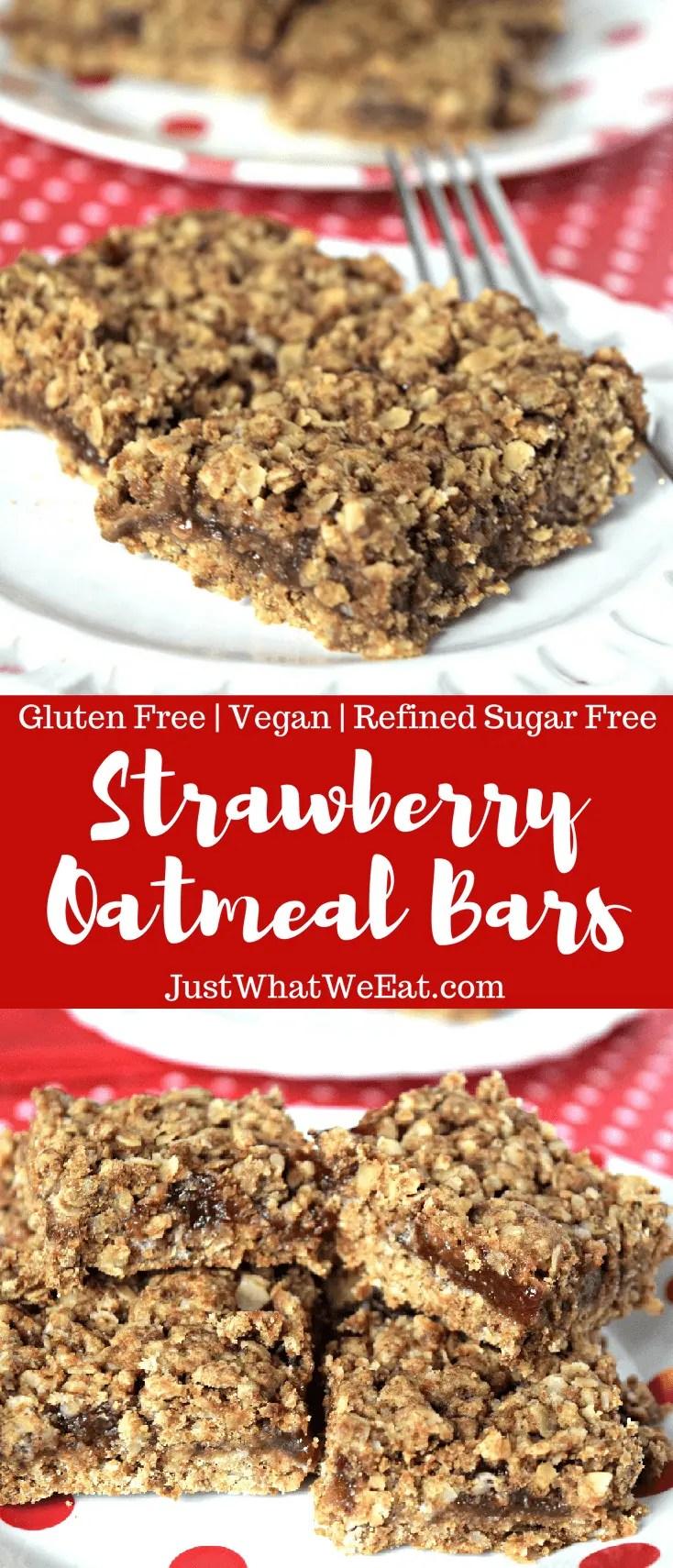 Strawberry Oatmeal Bars - Gluten Free, Vegan, & Refined Sugar Free