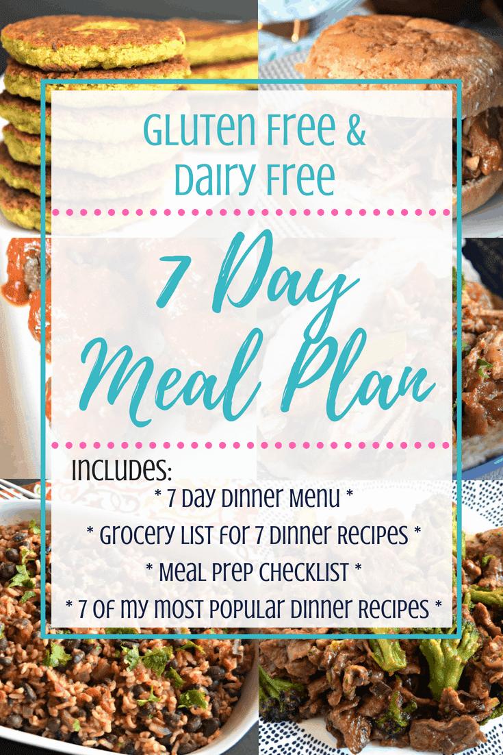 7 Day Gluten Free & Dairy Free Meal Plan