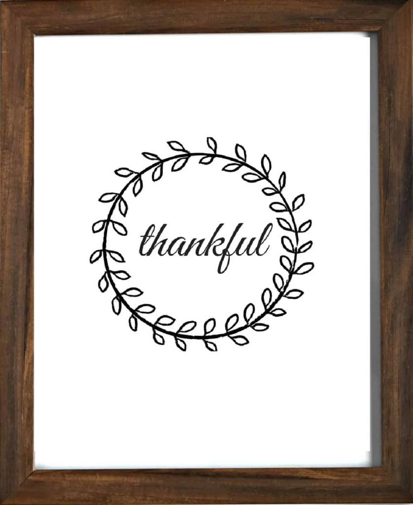 Thankful Printable Wall Decor