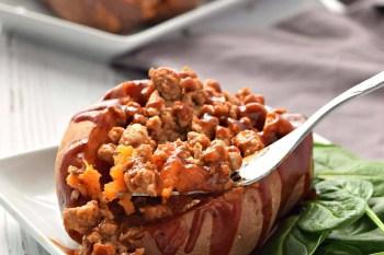 BBQ Turkey Stuffed Sweet Potatoes - Gluten Free and Dairy Free