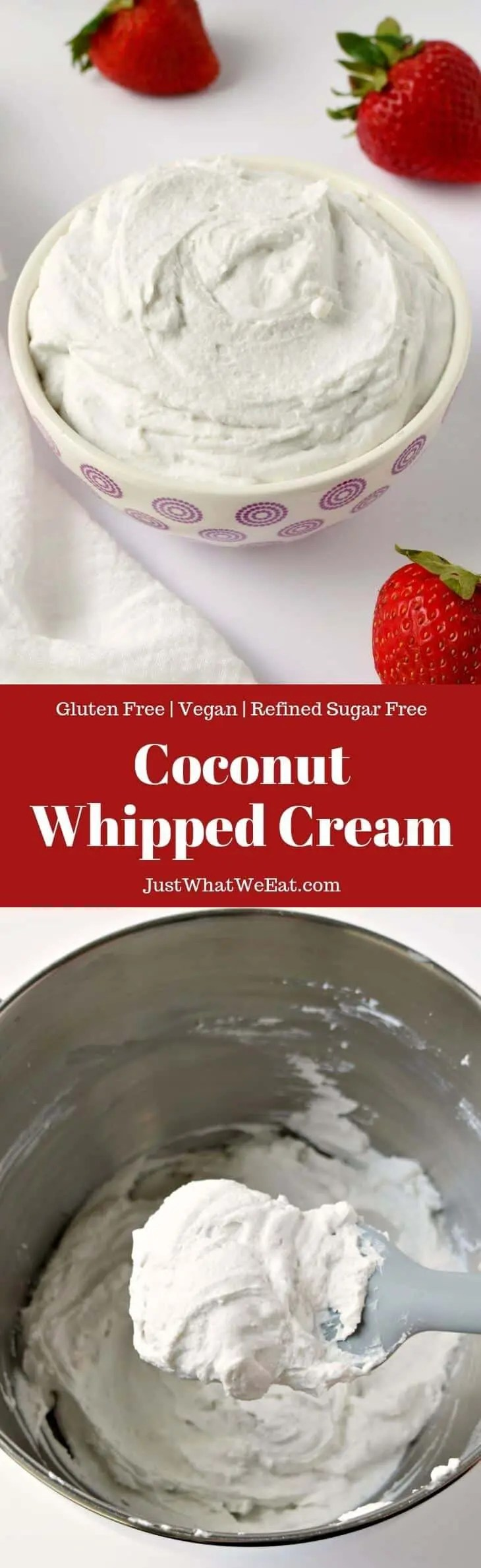 This easy Coconut Whipped Cream recipe is the perfect addition to any dessert! It's gluten free, vegan, refined sugar free, and tastes amazing!