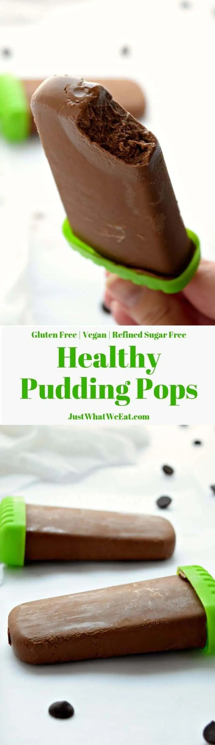 You would never know that these Healthy Pudding Pops are made with avocados! They taste just like the chocolaty pudding pops you are used to but are gluten free, vegan, and refined sugar free!