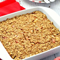 This Apple Cinnamon Healthy Baked Oatmeal is so easy to make and tastes wonderful! The baked apples with the warm spices and hearty oats make this a delicious breakfast treat! #glutenfree #dairyfree #vegan #refinedsugarfree #bakedoatmeal #breakfast #apple