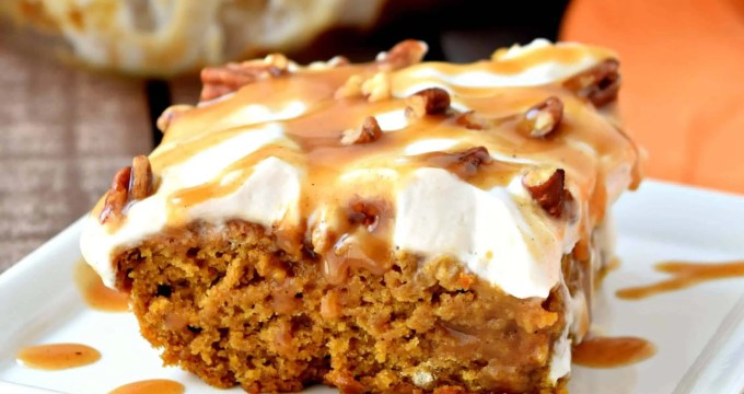 This gluten free and vegan Pumpkin Caramel Poke Cake is so moist and has the most delicious pumpkin and warm spice flavor. It's topped with vegan caramel sauce and coconut whipped cream making it the perfect Fall dessert! #glutenfree #dairyfree #vegan #dessert #fall #recipes #pumpkin #caramel