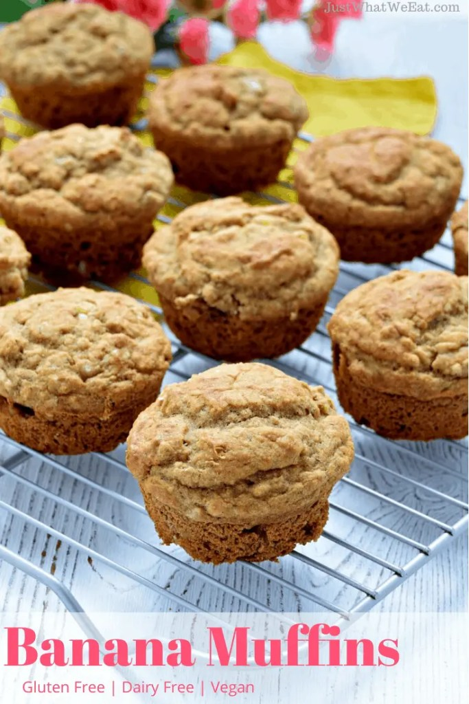 These gluten free Banana Muffins are delicious and have a wonderful soft texture. They are also vegan, dairy free, egg free, and so easy to make! #glutenfree #vegan #dairyfree #banana #muffins #glutenfreemuffins #breakfast