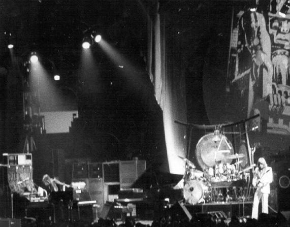 """""""ELP I need somebody...."""" Emerson Lake and Palmer on stage in 1973"""