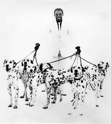 Desmond with his dogs, the imaginatively named Spot, Spot, Spot, Spot, Spot and errr .........Rover???