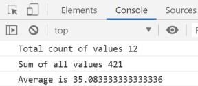 average of an array using JS output