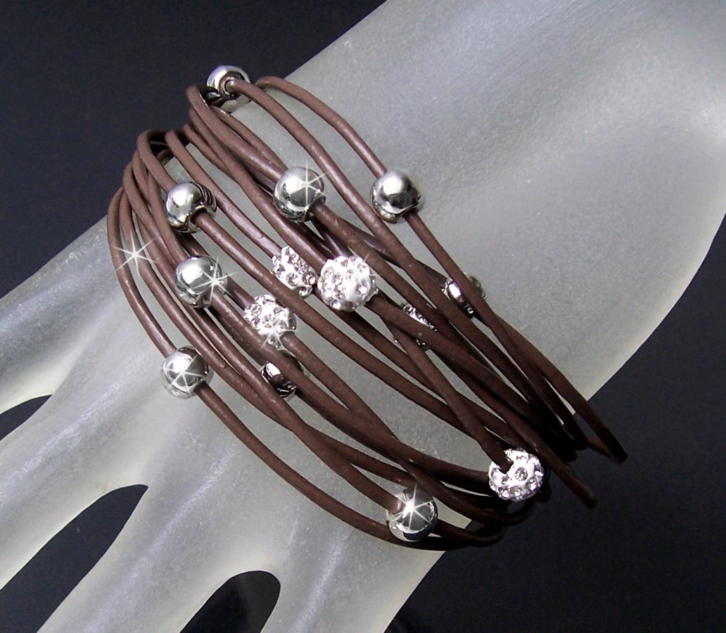 Armband Shamballa echt Leder Edelstahl Silber Strass
