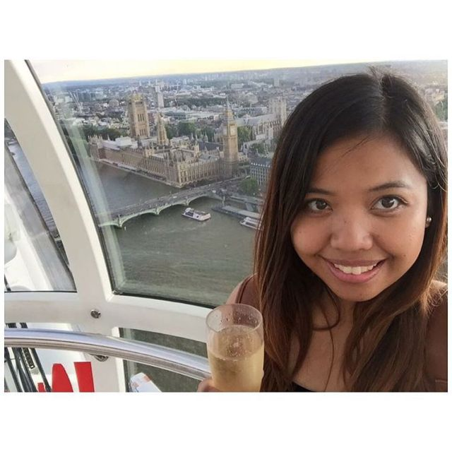 A year after, I traveled to seven countries in Europe on my own starting in London! <3 This is me at the London Eye drinking champagne because why the heck not? :P