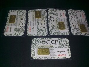 5 pcs gold bar GCP 10g emas 999