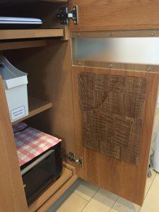 空いたスペース コピー用紙収納 クリアファイル 木目調 扉の内側