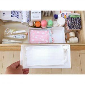 薬の収納 すっきりシンプル マスク収納 セリアケース 子供用マスクの収納 ダイソーソフトケースに錠剤を入れる