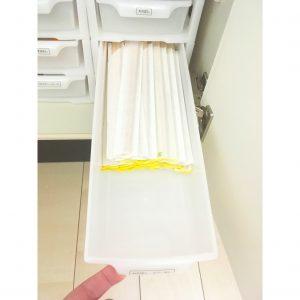 ダイソー 引き出しケース 白い引き出し ケース 100均 使い捨てカトラリー 割りばし 収納場所 収納方法 最適 キッチン 整理 収納
