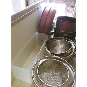 コンロ下 鍋収納 調理用品収納 キッチン 無印 無印良品 収納 整理 ポリプロピレンファイルボックス1/2サイズ