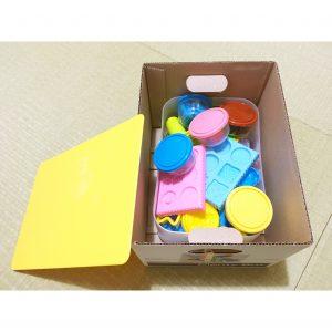 粘土 ねんど 収納 収納方法 収納場所 整理整頓 子供のおもちゃ おもちゃ 和室 押入れ セリア プレンティボックス 100均 紙ボックス 段ボールボックス
