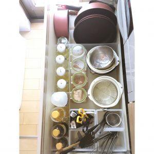 キッチン 調理器具 無印 無印良品 ファイルケースハーフサイズ ファイルボックスハーフサイズ 透明 仕切りに使う コンロ下の収納 整理整頓 ブログ 整頓