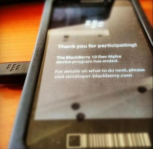 BlackBerry Dev Alpha Error Message Trial Period Over