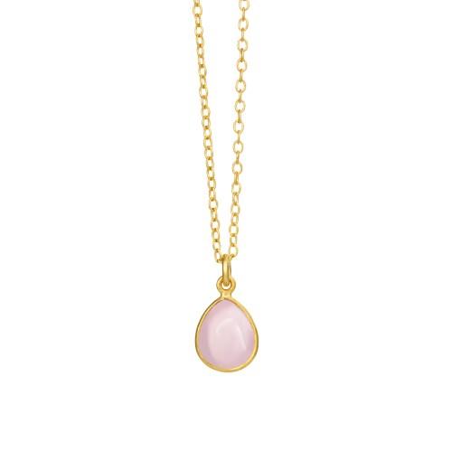 Halskæde med lyserød krystal