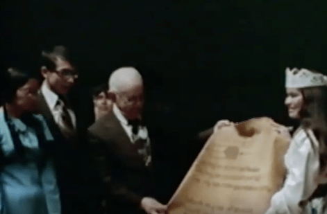 SWK receiving the Elk Skin from BYU's Tribe of Many Feathers