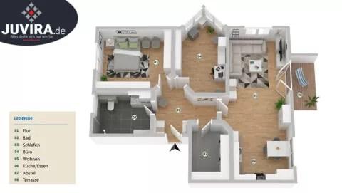 Juvira.de | 3dimensionale Ansicht eines Grundriss