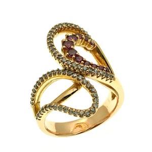 roze gouden ring met zirconia